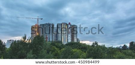 Moscow, Building Fili-grad complex, port July 8, 2016 - stock photo