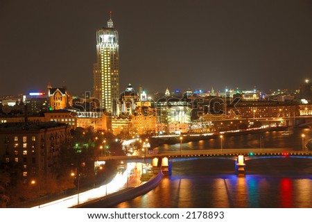 Moscow city at night - rivers of water and fire