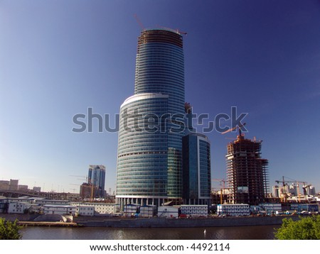 Moscow City Center project skyscrapers under construction, Russia