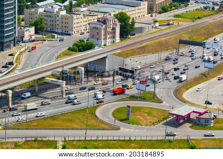 Moscow - city landscape, roads in the city. Life of the big city.