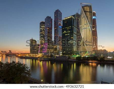 Moscow-City. Russia. Grandiose skyscrapers on the waterfront near the Moscow river. The Evolution tower is a masterpiece of architecture. Tower Empire, the Mercury have a unique design