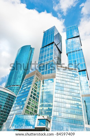 Moscow-city skycrapers business area at russian Moscow - stock photo
