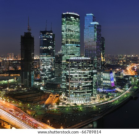 Moscow City skyscrapers at night - stock photo