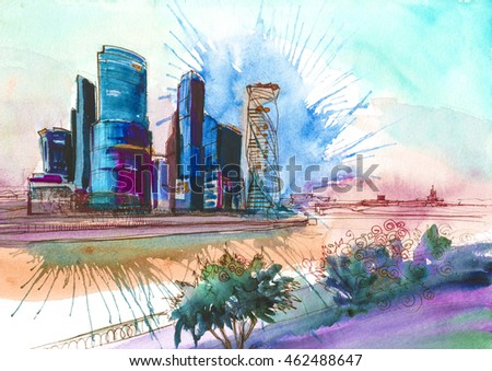 Moscow City Watercolor Painting Illustration Colored Poster Wallpaper