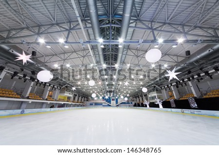 Moscow dec 14 empty ice stadium at ice palace mechta on dec 14