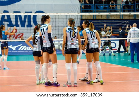 MOSCOW - DECEMBER 2: Dynamo Kazan team on a game Dynamo MSK vs Dynamo KZN on Russian National women Volleyball tournament on December 2, in Moscow, Russia, 2015 - stock photo