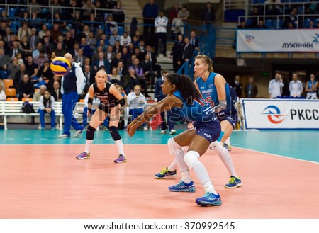 MOSCOW - DECEMBER 2: Fernanda Garai Rodrigez (16) in action on a game Dynamo MSK vs Dynamo KZN on Russian National wemen Volleyball tournament on December 2, in Moscow, Russia, 2015 - stock photo