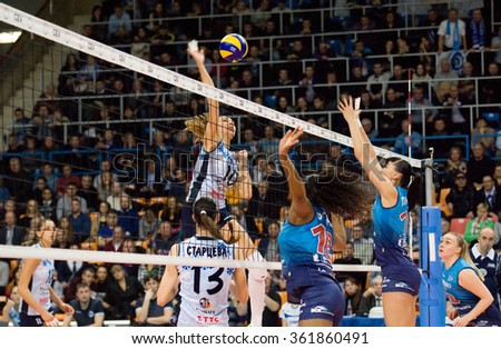 MOSCOW - DECEMBER 2: Fernanda Garay Rodrigez (16) defend during a game Dynamo MSK vs Dynamo KZN on Russian National women Volleyball tournament on December 2, in Moscow, Russia, 2015 - stock photo