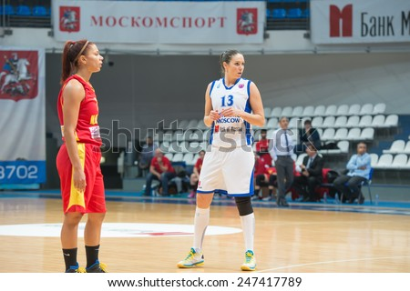 MOSCOW - DECEMBER 4, 2014: I Sokolovskaya (13) in action during the International Europe bascketball league match Dynamo Moscow vs Maccabi Ashdod Israel in sport palace Krilatskoe, Moscow, Russia.  - stock photo