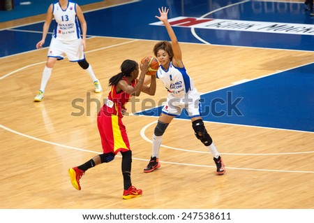 MOSCOW - DECEMBER 4, 2014: K. Keyru (4) and D. Hightower (6) in action on the International Europe bascketball league game Dynamo Moscow vs Maccabi Israel in sport palace Krilatskoe, Moscow, Russia - stock photo
