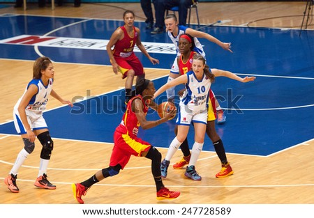 MOSCOW - DECEMBER 4, 2014: K. Keyru (4) and D. Hightower (6) in action on the International Europe bascketball league match Dynamo Moscow vs Maccabi Ashdod in sport palace Krilatskoe, Moscow, Russia - stock photo