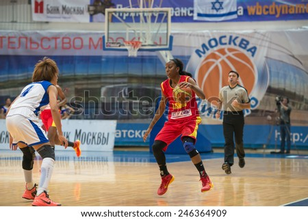 MOSCOW- DECEMBER 4, 2014: K. Keyru (4) vs D. Hightower (6) on the International Europe bascketball league match Dynamo Moscow vs Maccabi Ashdod Israel in sport palace Krilatskoe, Moscow, Russia.  - stock photo