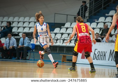 MOSCOW - DECEMBER 4, 2014: Katerina Keyru (4) atack on the International Europe bascketball league match Dynamo Moscow vs Maccabi Ashdod Israel in sport palace Krilatskoe, Moscow, Russia. - stock photo