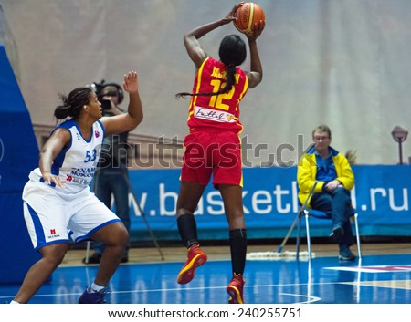 MOSCOW - DECEMBER 4, 2014: L. Jackson (12) gets a point during the International basketball league match Dynamo Moscow vs Maccabi Ashdod Israel in Moscow, Russia. Dynamo loss 59:67 - stock photo