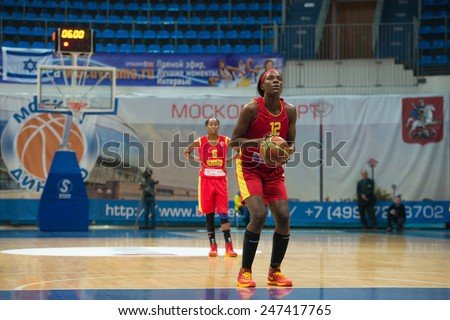 MOSCOW- DECEMBER 4, 2014: L. Jackson (12) on free throw oi the International Europe bascketball league match Dynamo Moscow vs Maccabi Ashdod Israel in sport palace Krilatskoe, Moscow, Russia. - stock photo