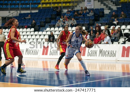 MOSCOW- DECEMBER 4, 2014:  Some players on the International Europe bascketball league match Dynamo Moscow vs Maccabi Ashdod Israel in sport palace Krilatskoe, Moscow, Russia. Dynamo loss 59:67 - stock photo