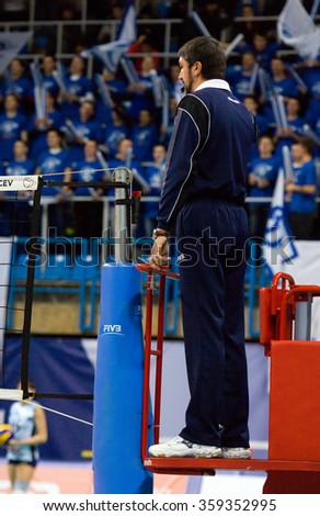 MOSCOW - DECEMBER 2: Unidentified referee wait for pitch on a game Dynamo MSK vs Dynamo KZN on Russian National women Volleyball tournament on December 2, in Moscow, Russia, 2015 - stock photo