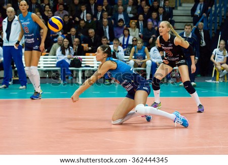 MOSCOW - DECEMBER 2: Yana Shcherban (6) in action during a game Dynamo MSK vs Dynamo KZN on Russian National women Volleyball tournament on December 2, in Moscow, Russia, 2015 - stock photo
