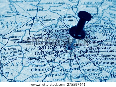 Moscow  destination in the map - stock photo