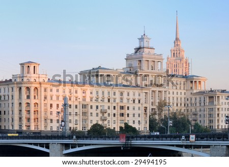 Moscow Embankment at dawn - stock photo