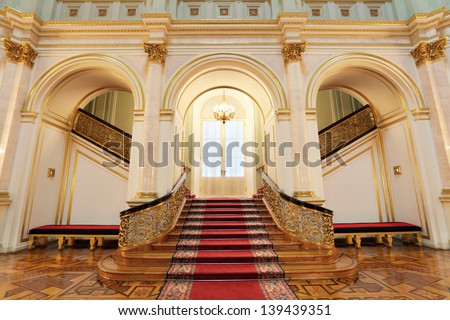 MOSCOW-FEB 22: An interior view of the Grand Kremlin Palace is shown on Feb 22, 2013 in Moscow. Built in 1849, the palace is the official residence of the President of Russia. Small Georgievsky hall - stock photo
