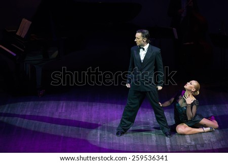 MOSCOW - FEBRUARY 27: Dancers Artem Mayorov and Julia Osina musical dance show Tango de Buenos Aires in the Chamber Hall of the Moscow House of Music on February 27, 2015 in Moscow, Russia.