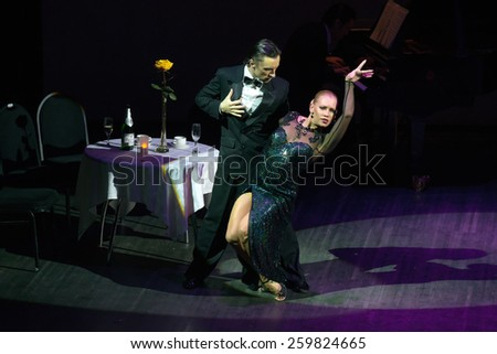 MOSCOW - FEBRUARY 27: Dancers Artem Mayorov and Julia Osina musical dance show Tango de Buenos Aires in the Chamber Hall of the Moscow House of Music on February 27, 2015 in Moscow, Russia. - stock photo