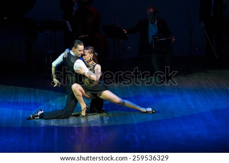 MOSCOW - FEBRUARY 27: Dancers Dmitry Kuznetsov and Olga Nikolaeva in musical dance show Tango de Buenos Aires in the Chamber Hall of the Moscow House of Music on February 27, 2015 in Moscow, Russia.