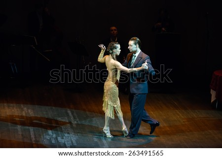 MOSCOW - FEBRUARY 27: Dancers Dmitry Kuznetsov and Olga Nikolaeva in musical dance show Tango de Buenos Aires in the Chamber Hall of the Moscow House of Music on February 27, 2015 in Moscow, Russia. - stock photo
