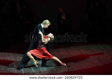MOSCOW - FEBRUARY 27: Dancers in musical dance show Tango de Buenos Aires in the Chamber Hall of the Moscow House of Music on February 27, 2015 in Moscow, Russia.