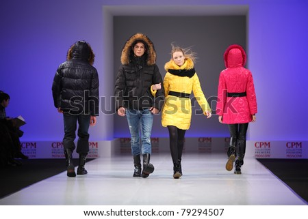 MOSCOW - FEBRUARY 22: Models wear fashions from Snowimage and walk catwalk in Collection Premiere Moscow, main platform of fashion industry in Eastern Europe, on February 22, 2011 in Moscow, Russia.