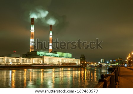 Moscow heat electro power station at night - stock photo