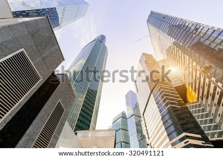 Moscow International Business Center Moscow City in the morning, Russia, sunlight reflection - stock photo