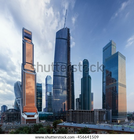 Moscow international business center, wide panorama from residential house rooftop