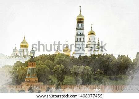 Moscow. Ivan the Great Bell Tower in Moscow Kremlin. Design in the style of pencil and watercolor.