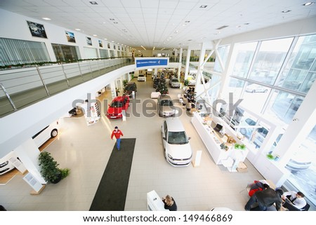 MOSCOW - JAN 11: Showroom on the first floor of dealership Varshavka Center on January 11, Moscow, Russia. In addition to exhibition area on the first floor are located the reception and client zone - stock photo