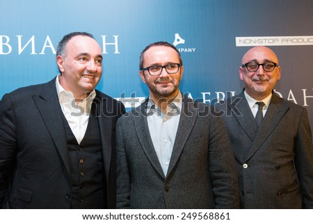 MOSCOW - JANUARY, 28: A Rodnyansky, A. Zvyagintsev, S. Melkumov. (Film Leviathan). Premiere of the movie Leviathan at Moscow Cinema,  January, 28, 2015 in Moscow, Russia - stock photo