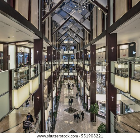 "Moscow. January 16, 2017. Buyers are in the luxurious shopping and entertainment center ""Vegas Crocus City Hall."""