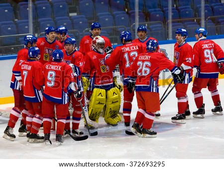 MOSCOW - JANUARY 29, 2016: Czech team rejoice just before hockey game Sweden vs Czech on League of World legends of Ice hockey championship in VTB ice arena, Russia. Czech won 8:2 - stock photo