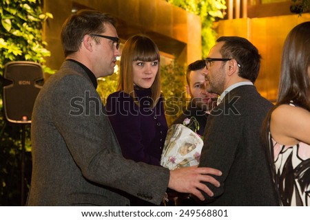 MOSCOW - JANUARY, 28: Director Andrey Zvyagintsev with team. Premiere of the movie Leviathan at Moscow Cinema,  January, 28, 2015 in Moscow, Russia - stock photo