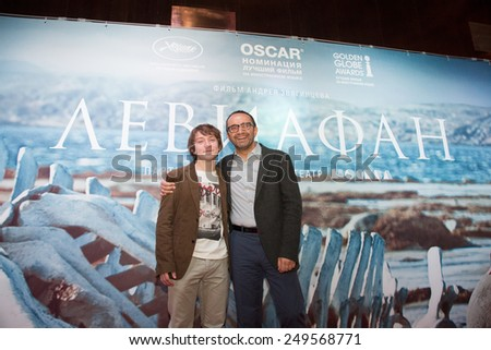 MOSCOW - JANUARY, 28: Film Director Andrey Zvyagintsev, S. Pokhodaev.  Premiere of the movie Leviathan at Moscow Cinema,  January, 28, 2015 in Moscow, Russia  - stock photo