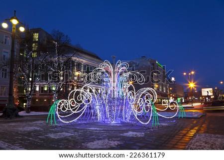 MOSCOW - JANUARY 19, 2014: Gogolevsky boulevard street illuminated for Christmas and New Year holidays. - stock photo