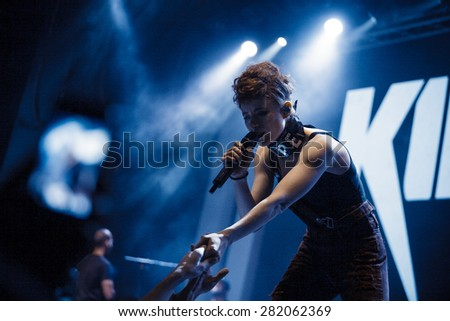 MOSCOW - 29 JANUARY, 2015 : Kiesza performing live concert in Glavclub, Russia for HP Music - stock photo