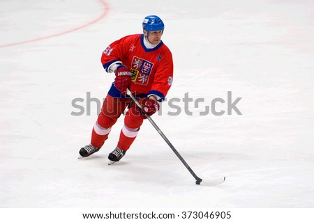 MOSCOW - JANUARY 29, 2016: Otakar Janecky (91) in action during hockey game Sweden vs Czech on League of World legends of Ice hockey championship in VTB ice arena, Russia. Czech won 8:2