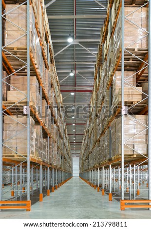 MOSCOW - JULY 29: A big modern storage room on july 29, 2014 in Moscow. Moscow is a modern city with well-developed logistics infrastructure.  - stock photo