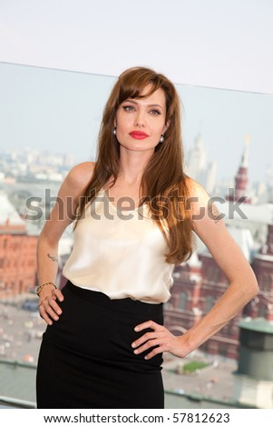 "MOSCOW - JULY 25: Actress Angelina Jolie at the premiere of the movie ""Salt"" at the Ritz Hotel.  July 25, 2010 in Moscow, Russia. - stock photo"