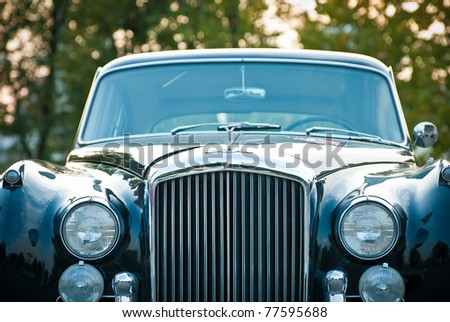 MOSCOW - JULY 31: Bentley Black Claccic on exhibition parking at an annual event the VI race of vintage cars 'Night Moscow Classic Rally' on  July 31, 2010 in Moscow, Russia - stock photo