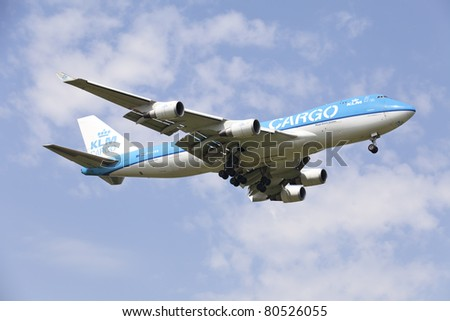 MOSCOW - JULY 02: Boeing 747 of KLM approaching Sheremetyevo airport located in Moscow on 02 july 2011.KLM operates worldwide scheduled passenger and cargo services to more than 90 destinations.