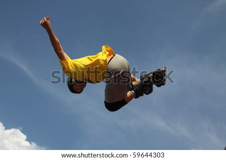 MOSCOW - JULY 31:Cesar Andrade (Brazil) performs a jump in Luzhniki Olympic Arena on July 31, 2010 in Moscow, Russia. - stock photo