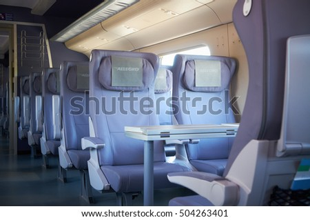 MOSCOW, JULY 12, 2010: Interior view on passenger seats of high speed train Pendolino Sm6 - ALLEGRO, made by Alstom